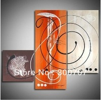 Free shipping handmade High Quality Modern Abstract Huge Wall Ornaments Canvas oil painting decoration Canvas art  3pc/set *318