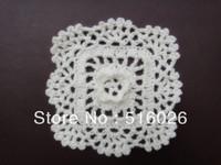 wholesale 12cm 20pcs/lot handmade crochet doily with 3D flower center, square coaster, flower applique for scrapbooking, wedding
