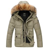 Down male business casual large fur collar down coat men's clothing detachable cap medium-long