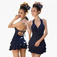 Free Shipping Ladies One-piece swimming dress plus size xl,2xl,3xl,4xl,5xl deep-V neck swimwear female backless swimsuits 21009