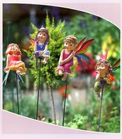 European-style flower garden balcony decorations ornaments ornaments Rainbow Flower Fairy Resin Crafts