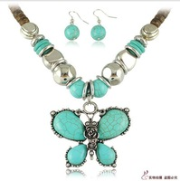 Natural Environmental Coconut shell necklace turquoise Jewelry Set Butterfly Necklace