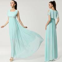 free shipping Wholesale 2014 summer new fashion korean bohemian maxi long beach elegant chiffon dress for women sky blue