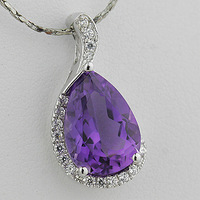 Female of natural crystal pendant natural amethyst pendant 925 pure silver drop