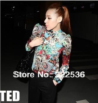 2014 New Fashion Women Blouse Vintage Print Long Sleeve Bodycon Button Cardigan Shirts Autumn Brand Blusa Feminino 18654