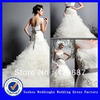 Chiffon One Shoulder Wedding Dress With Hand Made Flower