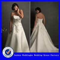 Strapless Short Train Satin Appliqued Plus Size Wedding Dresses
