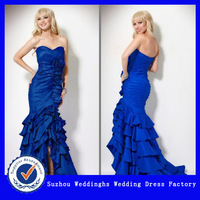 Strapless Sweetheart Formal Dress With Tiered Train and Rosettes