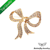 (MOQ 10$)Free shipping Top quality Alloy Shining Crystal Bowknot Brooch Pin Women 2013,18K Gold Butterfly Bow Brooches Wholesale