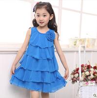 Children's flower dress  clothing female child 2013 summer child one-piece dress plus size chiffon cake princess dress