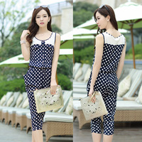 Free shipping Summer 2013 ol sleeveless polka dot sleeveless jumpsuit for women casual pants 1358