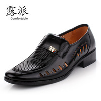 Free shipping, Daily casual male  commercial genuine  leather sandals cutout breathable shoes