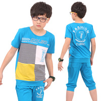 Children's clothing child summer male 2013 men's child clothing short-sleeve sports set teenage primary school students