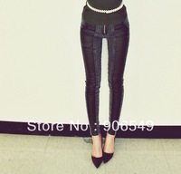 Free Shipping Women Sexy  Low Waist  slim skinny jeans Fashion Winter Leather Patchwork Boot Cut Jeans Pants