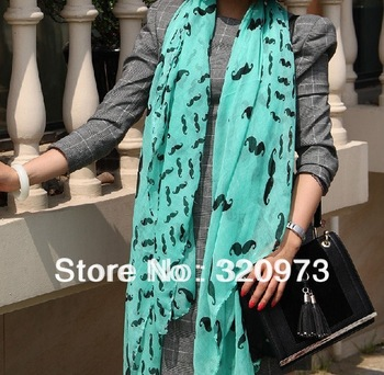 1pc/lot  2013 new arrival Korea style extra long soft women print cute mustache scarf plus size voile shawls free shipping