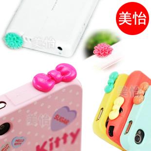 Bow mobile phone dust plug  for SAMSUNG   iphone4 s dust plugs shell mobile phone case echinochloa frumentacea plug earphones
