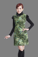 "Green New Chinese Women's Cotton warmth Qipao Mini Cheong-sam Evening Dress peafowl S M L XL XXL "" LGD Y0014 """
