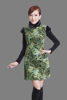 "Green New Chinese Women's Cotton warmth Qipao Mini Cheong-sam Evening Dress peafowl S M L XL XXL "" LGD Y0014 """