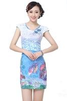 "Blue New Chinese Women's Cotton Qipao Mini Cheong-sam Evening Dress Flower S M L XL XXL "" LGD D0210-A """