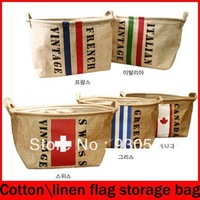 Cotton and linen national flag storage bag- largesmall Basket home storage Organizer,France,Greece,German,Swiss,Canada,Italian