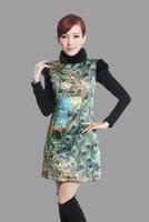 "Green New Chinese Women's Cotton warmth Qipao Mini Cheong-sam Evening Dress peafowl S M L XL XXL "" LGD Y0015 """