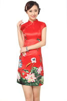 "Red New Chinese Women's satin Qipao Mini Cheong-sam Evening Dress Flower S M L XL XXL "" LGD D0183-C """