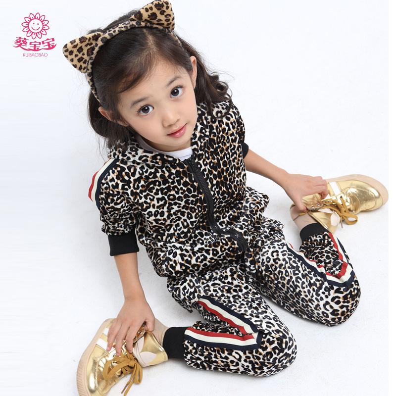 Free Shipping 2013 Female Child leopard Print set Children'S Clothing Autumn Set 5 6 8 - - --9 11 Years Old girl Autumn Fashion(China (Mainland))