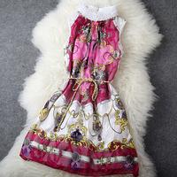 Fashion Apparel Silk mulberry silk flower lace decoration sleeveless one-piece dress