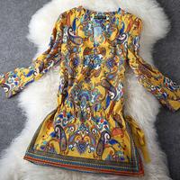 Fashion Apparel High quality boutique women's vintage print one-piece dress short