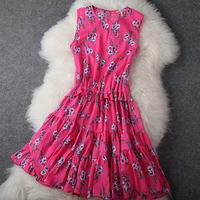 Fashion Apparel 2013 quality rustic slim silk vest one-piece dress female