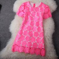 Fashion Apparel High quality water huaqun o-neck short-sleeve slim one-piece dress female