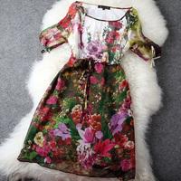 Fashion Apparel Fashion vintage national trend silk mulberry silk flower print pattern women's one-piece dress summer