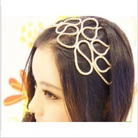 2013 Fashion golden color metal cutout knitted headband  hair accessory hair bands headdress Free shipping (Min order $10)