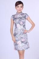 "Gray New Chinese Women's Cotton Qipao Mini Cheong-sam Evening Dress Flower S M L XL XXL "" LGD D0192 """