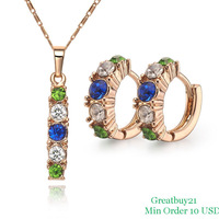 18KGP-S038 Free Shipping High Quality African Jewelry Sets 18K Gold Plated Necklace & Hoop Earrings Factory Price