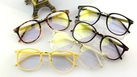 Non-mainstream metal glasses frame male Women big black frame fashion eyeglasses box vintage plain mirror