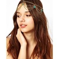 Min Order $18(Can Mix Item) Fashion elegant  golden T  Chain Hairband  Headband free shipping