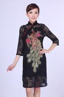 "Black New Chinese Women's Lace Qipao Mini Cheong-sam Evening Dress Flower S M L XL XXL XXXL "" LGD E0014-A """