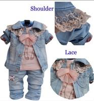 BB015 1 set Retail baby clothing set Fashion girl denim clothes set jacket+t-shirt+jeans 3 pcs fall kid wear Free shipping