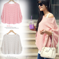 free shipping Wide-neck 3415 granules pearl loose sweater autumn fashion all-match women's  wrsc