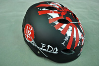 4 senior hip-hop helmet skateboard roller bicycle helmet cool black and red
