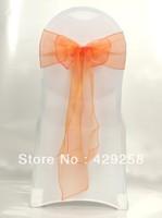 Free shipping-Wholesale 100pcs Orange Organza Chair Sashes Bows Ribbon 18cmX275cm Wedding/HOT