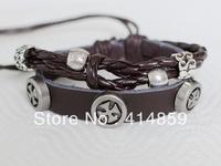 153 Brown men leather bracelet Cross bracelet Classic jewelry The powerful man bracelet gift Hip hop punk