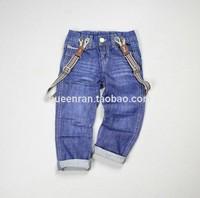 free shipping  fashion Children Boy Bib jeans baby boys child  Detachable strap trousers casual pants