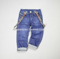 free shipping  fashion Children Boy Bib jeans baby boys child  Detachable strap trousers casual pants