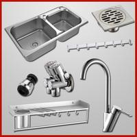 kitchen set double bowl stainless steel wash sink&bent arm faucet&floor drain&shelf