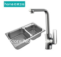 double bowls 304 wiredrawing stainless steel sink  vegetables&fruit basin with copper faucet sets 2
