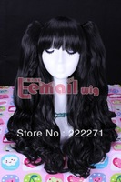 FREE SHIPPING Anime Lolita Lucky Night Tohsaka Rin Doll Long Wavy Black Full Lace Cosplay Wig Costume Heat Resistant + Cap