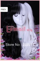 FREE SHIPPING Anime Lolita Long Wavy Multi-Color Black White Full Lace Cosplay Wig Costume Heat Resistant + Cap