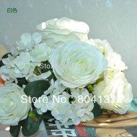 "White 32cm/12.6"" Length Artificial Simulation Rose Hydrangea Bouquets Bride Bouquet Wedding Flower Home Christmas Decorations"